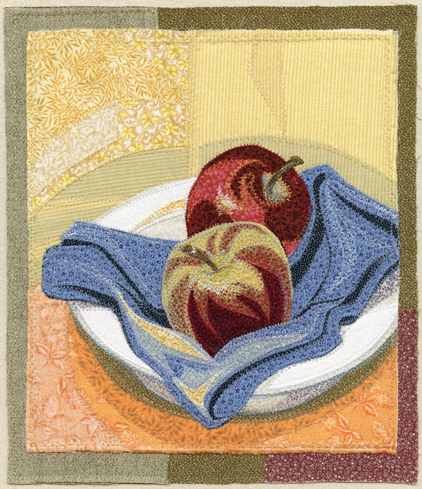 TWO APPLES, thread on fabric, 11 x 9″, frame: 19 x 16″ | Deidre Scherer