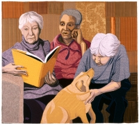 THREE WOMEN with DOG