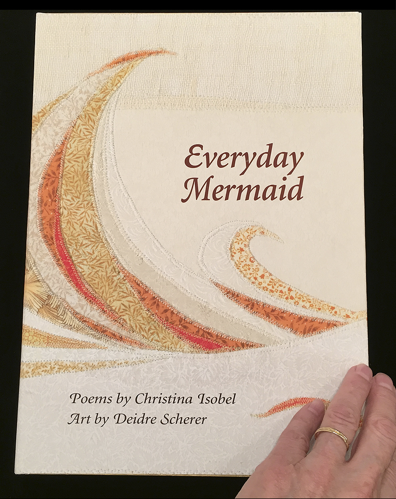 "This is our cover for ""Everyday Mermaid"" which is based on my thread -on-layered fabric originals."