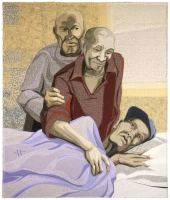 Deidre-SCHERER-ThreeMen_36x30_ThreadOnFabric