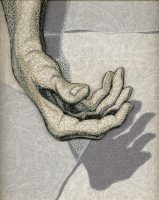 "Hand and Shadow, 13 x 11"", thread on fabric,"