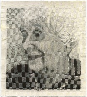 Open Gaze, 12 x 11 inches, torn paper weaving