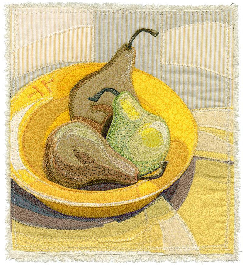 Three Pears In Yellow Bowl